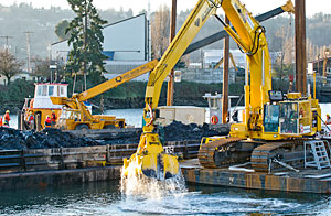 Boeing completed the first phase of removing contaminated sediment and replacing it with clean sand along a half-mile stretch of the Lower Duwamish Waterway in 2013.