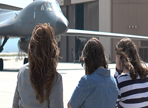 Bt. Col. Tim Schepper maneuvers his B-1B into place at Ellwsworth Air Force Base, South Dakota as his family looks on