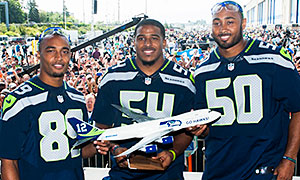 Seattle Seahawks wide receiver Doug Baldwin (left) and linebackers Bobby Wagner (center) and K.J. Wright
