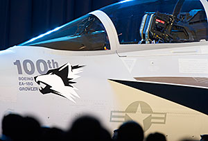 The 100th EA-18G Growler at Boeing's recent rollout ceremony.