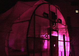At night, the Mars Desert Research Station's greenhouse lights up in a purple glow
