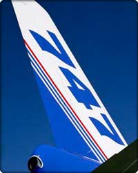 Close up shot of the tail of the first 747-400ER
