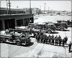 Fire trucks outside Moses Lake, a strategic Air Command site