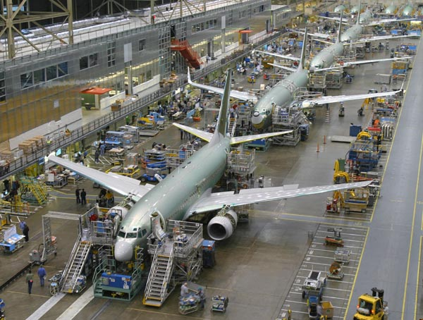 The 737 assembly line at Boeing's Renton facility