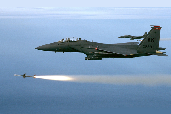 Two F-15E's Fire AIM-7M's