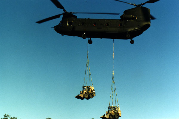 CH-47D Chinook transporting construction gear