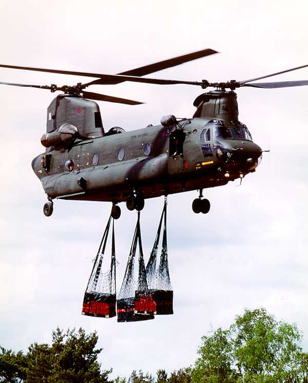 RAF CH-47D Chinook transporting cargo