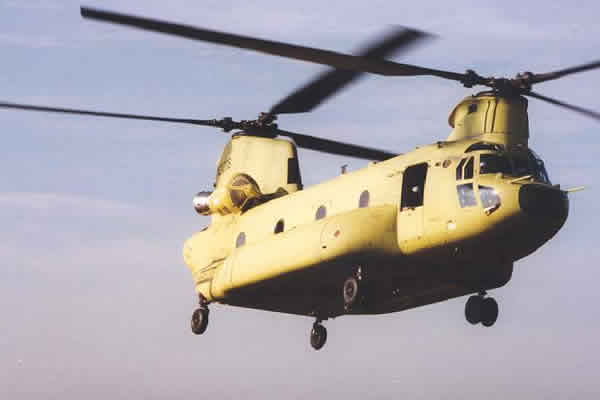 CH-47SD Chinook tandem-rotor helicopter during successful first flight