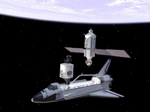 Illustration of Space Shuttle near the International Space Station