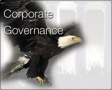Corporate governance eagle superimposed over Lincoln memorial