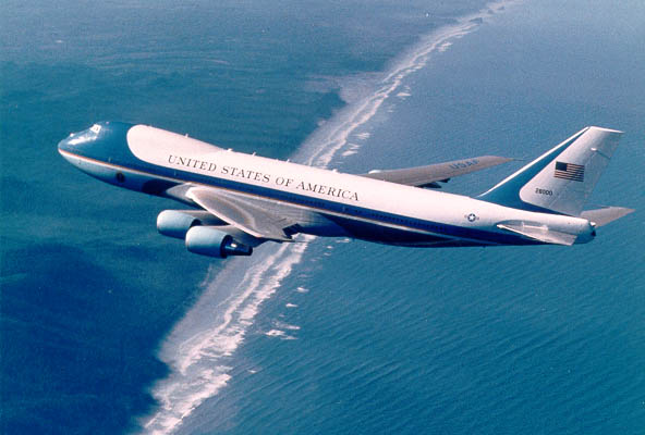 Air Force One flying over ocean