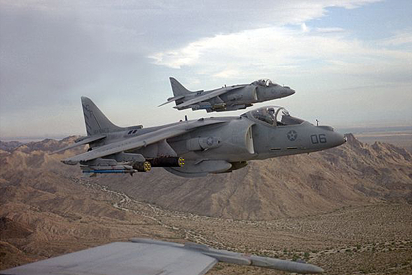 AV-8B Harrier IIs in flight