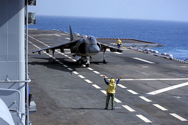AV-8B Harrier II on carrier deck