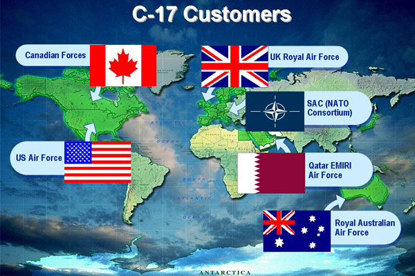 World map of C-17 Customers (Neg#: C-17_world_customers)