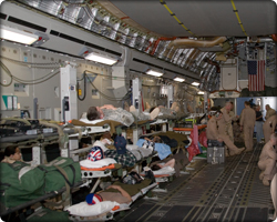Medical airlift onboard C-17 Million Hour mission. (Neg#: SLF06-00229-065)