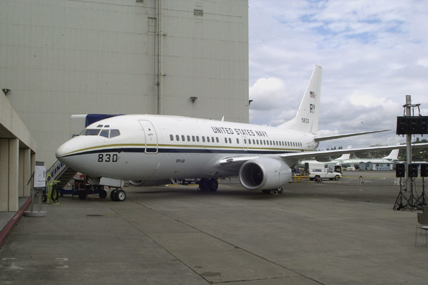 The C-40A is prepped for the rollout ceremony on September 9, 2000