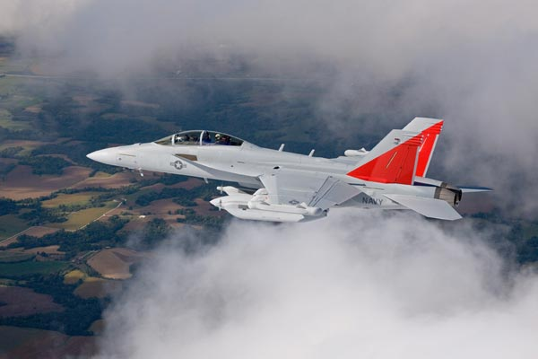 EA-18G first flight with jamming pods, Sept. 19, 2006