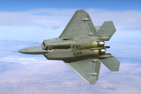 Bottom view of F/A-22 Raptor