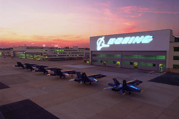 F/A-18 Hornet Blue Angels parked in St. Louis