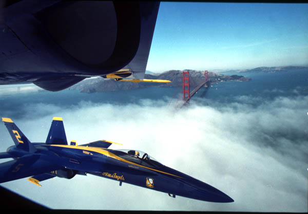 F/A-18 Hornet Blue Angels at Golden Gate Bridge