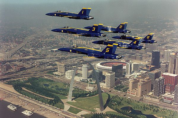 F/A-18 Hornet Blue Angels flying over St. Louis Arch