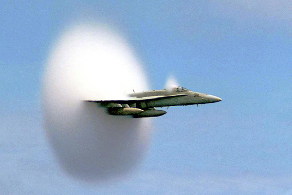F/A-18 Hornet breaks the sound barrier
