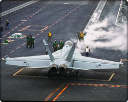 F/A-18E/F on carrier deck (Neg#: C35-1474-238)
