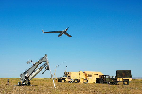 The Boeing/Insitu ScanEagle UAV takes off on a flight at the Boeing Boardman test range in eastern Oregon.