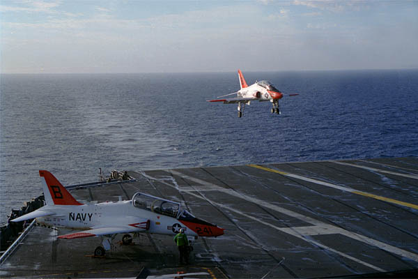 T-45 Goshawk landing on carrier