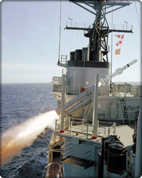 Harpoon launched from ship (Neg#: c12-11378-13)