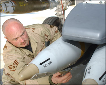 Staff Sgt. Russell David, 455th Expeditionary Aircraft Maintenance Squadron weapons load crew chief, inspects a GBU-39 Small Diameter Bomb on an F-15E Strike Eagle at Bagram Airfield, Afghanistan. (Air Force photo) (Neg#: 070126-F-0718D-001)