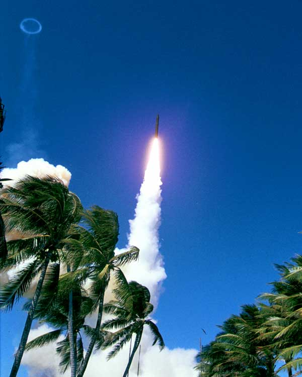 Integrated Flight Test (IFT) -13B, the three-stage booster vehicle was launched from Meck Island.
