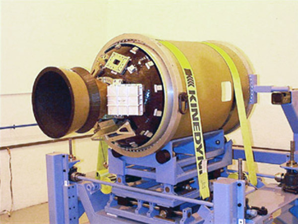 An inert rocket motor is inserted into the outer shell of the stage 2 rocket motor assembly