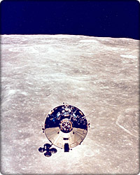 Apollo 11 above the moon's surface.
