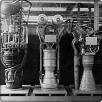 Left to right, V-2, Redstone and Navaho rocket engines
