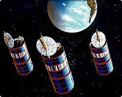 Artist rendition of three 376 satellites
