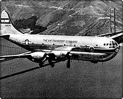 C-97 Stratofreighter over Golden Gate Bridge