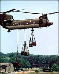 CH-47 Chinook lifts three cargo nets