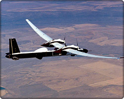 Condor UAV during flight test over the desert