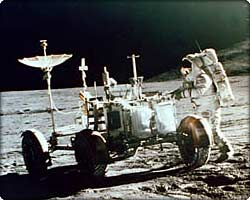 Lunar Roving Vehicle with astronaut on moon's surface