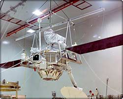 Mariner 10 spacecraft hangs from ceiling during preparations
