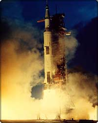 Saturn V rocket launches Apollo capsule