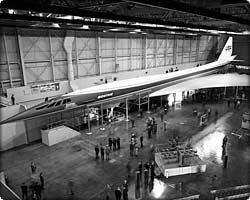 Supersonic Transport mock-up in hangar