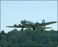 Boeing 307 Stratoliner takes off for National Air & Space Museum