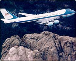 VC-25A Air Force One in flight over Mt. Rushmore
