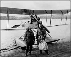 William Boeing and pilot Eddie Hubbard deliver the first international airmail in C-700