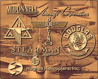 Collage of historical company logos and aircraft
