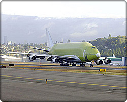 747 Large Cargo Freighter arrives in Seattle