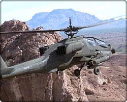 AH-64A Apache attack helicopter in flight