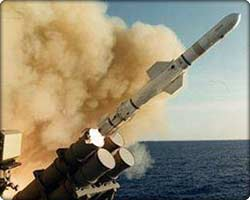 AGM-84 Harpoon missile being launched at sea
